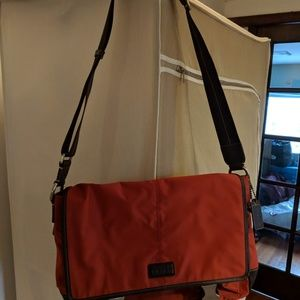 NWT Varick Nylon Coach Messenger in Red/Brown